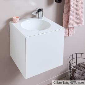 Alape WP.Folio Handwaschbecken mit Waschtischunterschrank mit 1 Tür weiß seidenmatt, mit 1 Hahnloch