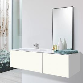 Alape WP.Folio Waschtisch mit Waschtischunterschrank mit 2 Auszügen weiß/weiß seidenmatt, mit 1 Hahnloch