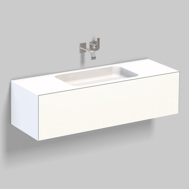 Alape WP.Folio Waschtisch mit Waschtischunterschrank mit 1 Auszug weiß/weiß seidenmatt, ohne Hahnloch