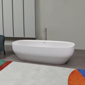 antoniolupi AGO freistehende Oval Badewanne weiß matt, Ablaufgarnitur schwarz chrom gebürstet