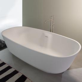 antoniolupi BAÌA Freistehende Oval-Badewanne weiß matt, Ablaufgarnitur chrom