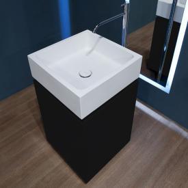 antoniolupi BLOKKO Waschtisch mit freistehendem Waschtischunterschrank mit 2 Türen Front schwarz matt / Korpus schwarz matt, Waschtisch weiß matt