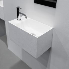 antoniolupi CALCO Handwaschbecken weiß struktur, mit 1 Hahnloch links, ohne Überlauf