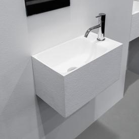 antoniolupi CALCO Handwaschbecken weiß struktur, mit 1 Hahnloch rechts, ohne Überlauf
