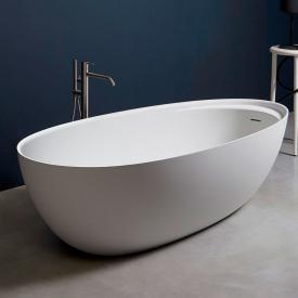 antoniolupi ECLIPSE Freistehende Oval-Badewanne weiß matt, Ablaufgarnitur graphit
