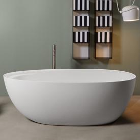 antoniolupi ECLIPSE freistehende Oval  Badewanne weiß matt, Ablaufgarnitur schwarz chrom gebürstet