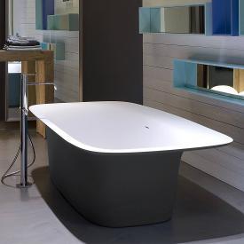 antoniolupi SARTO freistehende Badewanne schwarz matt / weiß matt, Ablaufgarnitur chrom