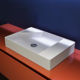 antoniolupi SIMPLO Aufsatzwaschtisch cemento matt/weiß matt, ohne Hahnloch, ohne Überlauf
