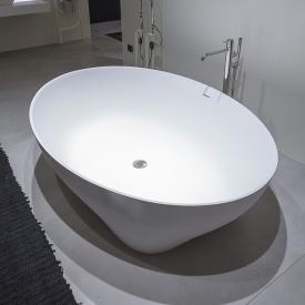 antoniolupi SOLIDEA freistehende Oval Badewanne weiß matt, Ablaufgarnitur edelstahl satiniert