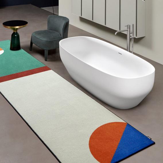 antoniolupi AGO freistehende Oval Badewanne weiß matt, Ablaufgarnitur chrom