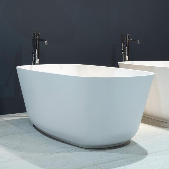 antoniolupi BAÌA freistehende Oval Badewanne weiß matt, Ablaufgarnitur edelstahl satiniert