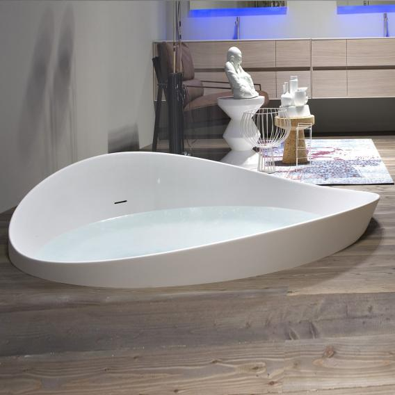 antoniolupi DUNE Runde Halbeinbau-Badewanne Ablaufgarnitur schwarz chrom gebürstet