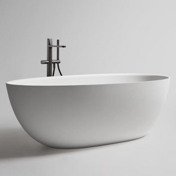 antoniolupi ECLIPSE freistehende Oval  Badewanne weiß matt, Ablaufgarnitur edelstahl satiniert