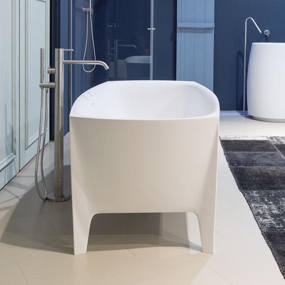 antoniolupi EDONIA freistehende Oval Badewanne weiß matt, Ablaufgarnitur edelstahl satiniert