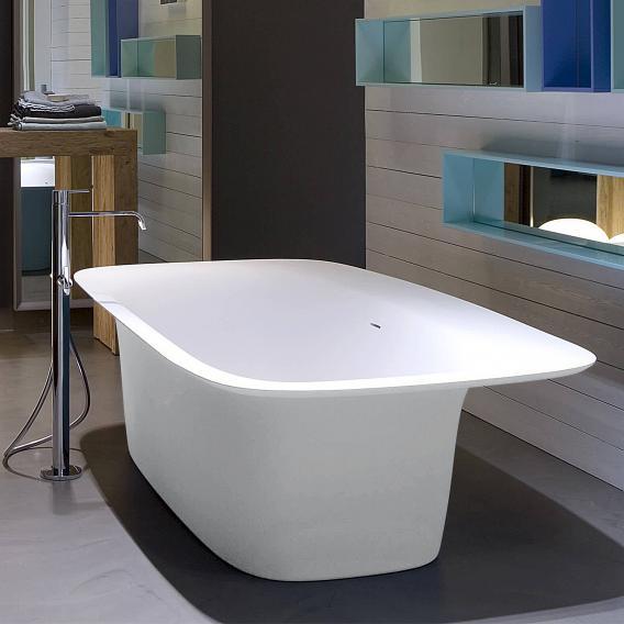 antoniolupi SARTO freistehende Badewanne weiß matt, Ablaufgarnitur chrom