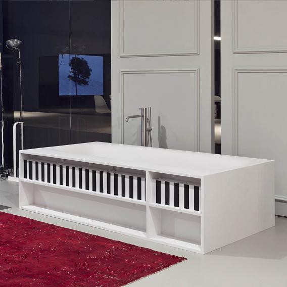 antoniolupi SARTO Rechteck-Badewanne mit Ablagefächern Ablaufgarnitur edelstahl satiniert