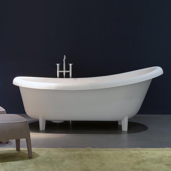 antoniolupi SUITE freistehende Oval Badewanne weiß matt, Ablaufgarnitur edelstahl satiniert