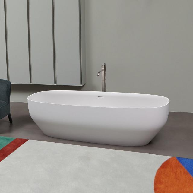 antoniolupi AGO Freistehende Oval-Badewanne weiß matt, Ablaufgarnitur schwarz chrom gebürstet
