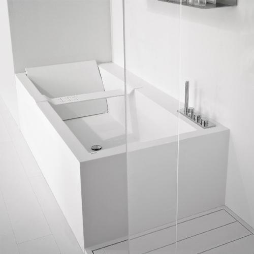 antoniolupi BIBLIO freistehende Rechteck-Badewanne mit Armaturenrand weiß