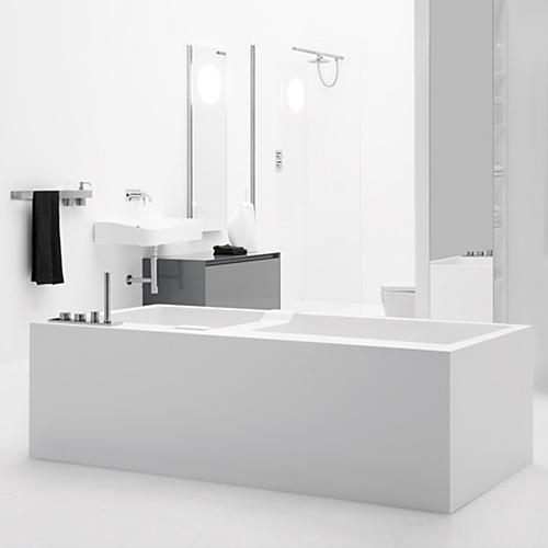 antoniolupi BIBLIO Rechteck-Badewanne mit 2-seitiger Verkleidung und 2 Armaturenrändern