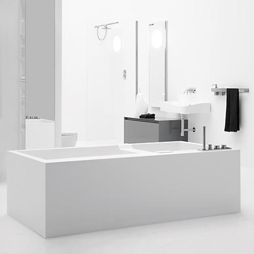 antoniolupi BIBLIO Vorwand-Badewanne mit Verkleidung und 2 Armaturenrändern