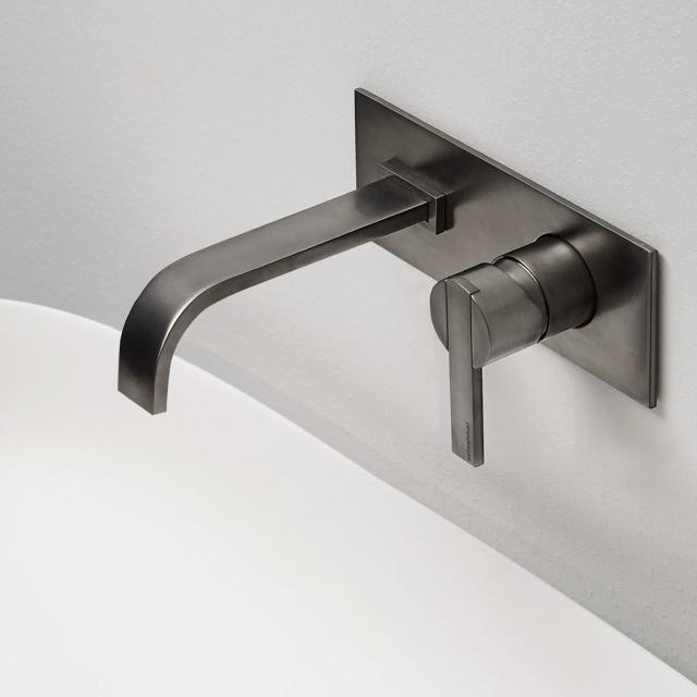 antoniolupi BIKAPPA Waschtisch-Eingriffmischer für Wandmontage Ausladung: 190 mm, schwarz chrom gebürstet
