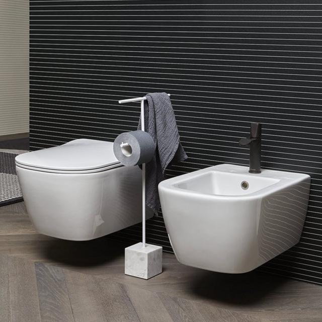 antoniolupi BIVIO Toilettenpapierhalter mit Handtuchhalter carrara/weiß matt