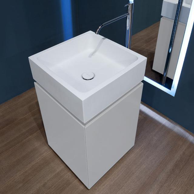 antoniolupi BLOKKO Handwaschbecken mit Waschtischunterschrank mit 2 Türen Front weiß matt / Korpus weiß matt, Waschtisch weiß matt