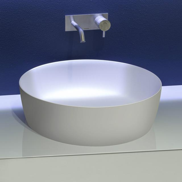 antoniolupi CATINO Aufsatzwaschtisch cemento matt/weiß matt, Ablaufventil weiß matt