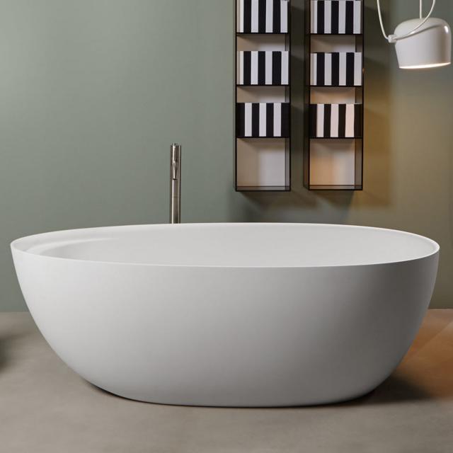 antoniolupi ECLIPSE Freistehende Oval-Badewanne weiß matt, Ablaufgarnitur chrom
