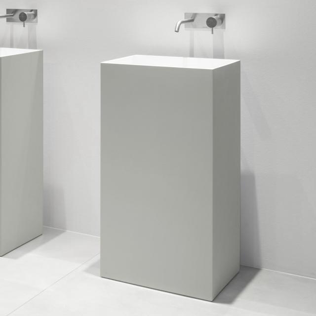 antoniolupi FUSTO bodenstehender Waschtisch cemento matt/weiß matt, ohne Handttuchhalter, Ablaufventil weiß matt