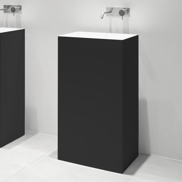 antoniolupi FUSTO bodenstehender Waschtisch schwarz matt/weiß matt, ohne Handttuchhalter, Ablaufventil weiß matt