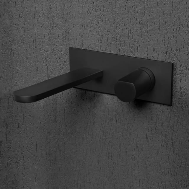 antoniolupi INDIGO Waschtisch-Eingriffmischer für Wandmontage Ausladung: 235 mm, schwarz matt