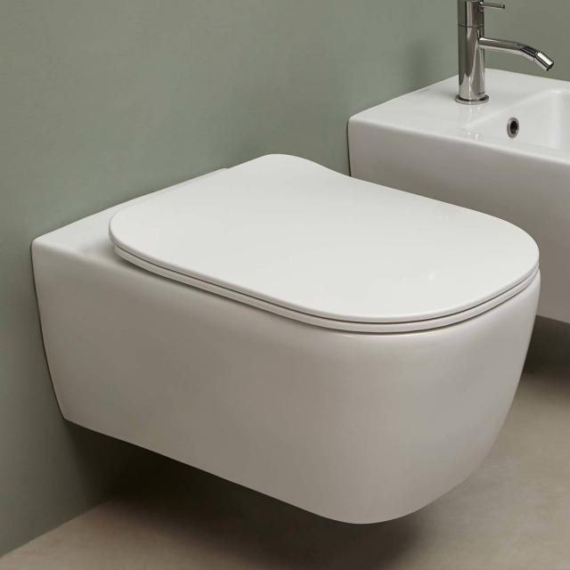 antoniolupi KOMODO Wand-Tiefspül-WC mit WC-Sitz Flat weiß matt, ohne Spülrand