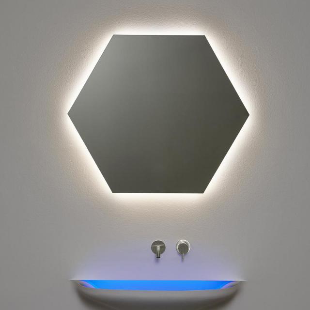 antoniolupi MODULO Sechseck-Spiegel mit LED-Beleuchtung