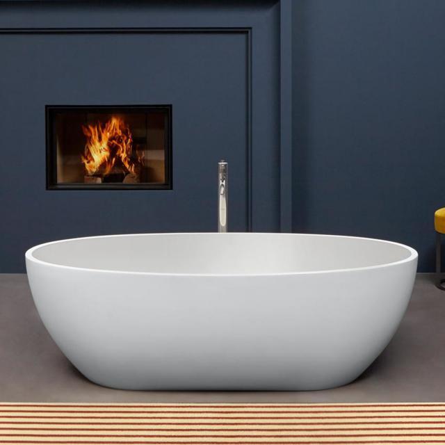 antoniolupi REFLEX Freistehende Oval-Badewanne weiß matt, Ablaufgarnitur weiß matt