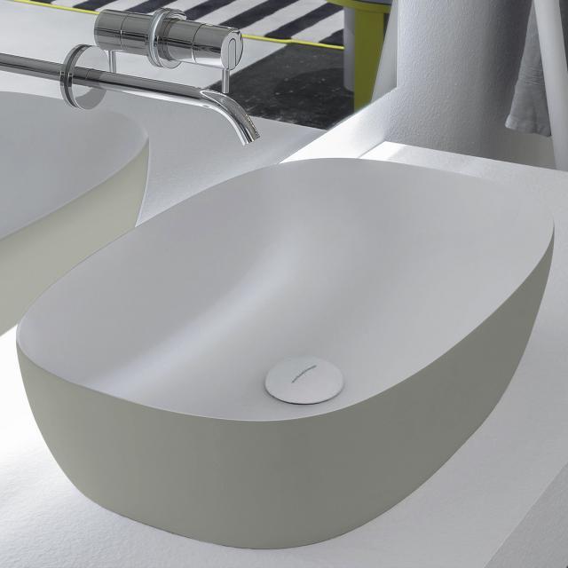 antoniolupi SENSO Aufsatzwaschtisch cemento matt/weiß matt, Ablaufventil weiß