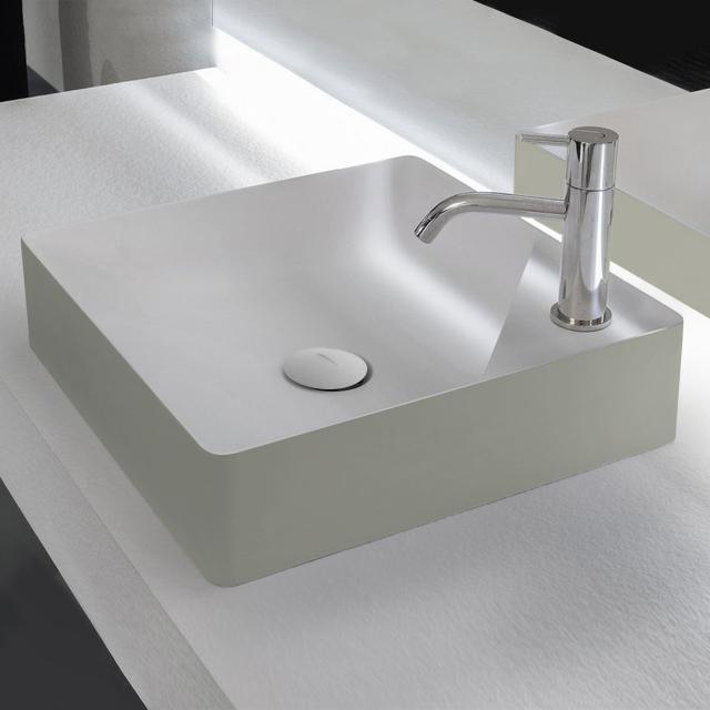 antoniolupi SIMPLO Aufsatzwaschtisch cemento matt/weiß matt, mit 1 Hahnloch, Ablaufventil weiß matt