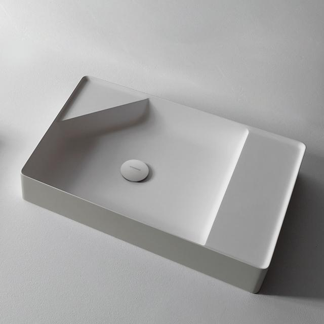 antoniolupi SIMPLO Wandwaschtisch cemento matt/weiß matt, ohne Hahnloch, ohne Überlauf, Ablaufventil weiß matt