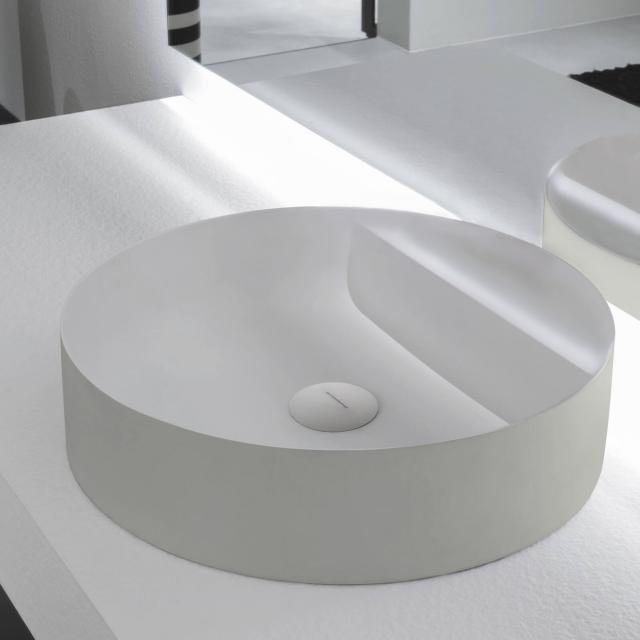 antoniolupi SIMPLOTONDO Aufsatzwaschtisch cemento matt/weiß matt, ohne Hahnloch, ohne Überlauf, Ablaufventil weiß matt