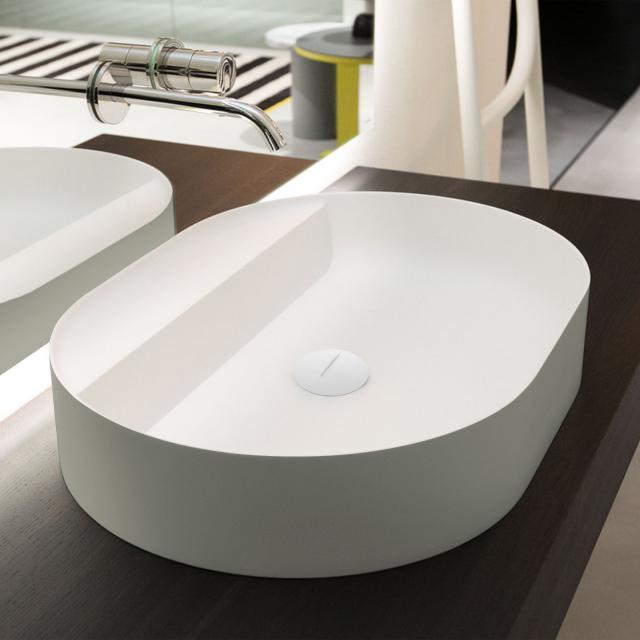 antoniolupi SIMPLOVALE Aufsatzwaschtisch cemento matt/weiß matt, ohne Hahnloch, ohne Überlauf, Ablaufventil weiß matt