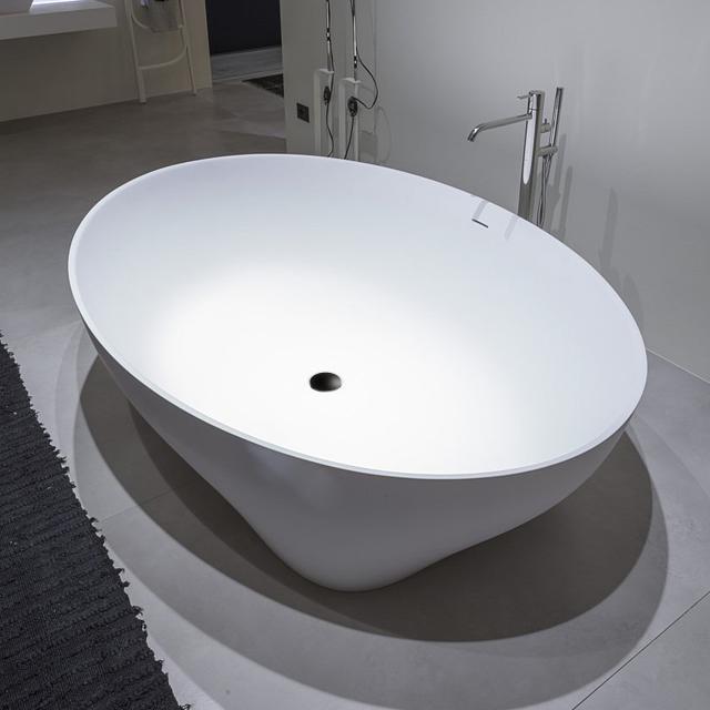 antoniolupi SOLIDEA Freistehende Oval-Badewanne weiß matt, Ablaufgarnitur schwarz chrom gebürstet