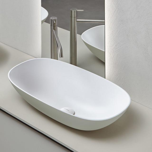 antoniolupi VELO Aufsatzwaschtisch cemento matt/weiß matt, Ablaufventil weiß matt