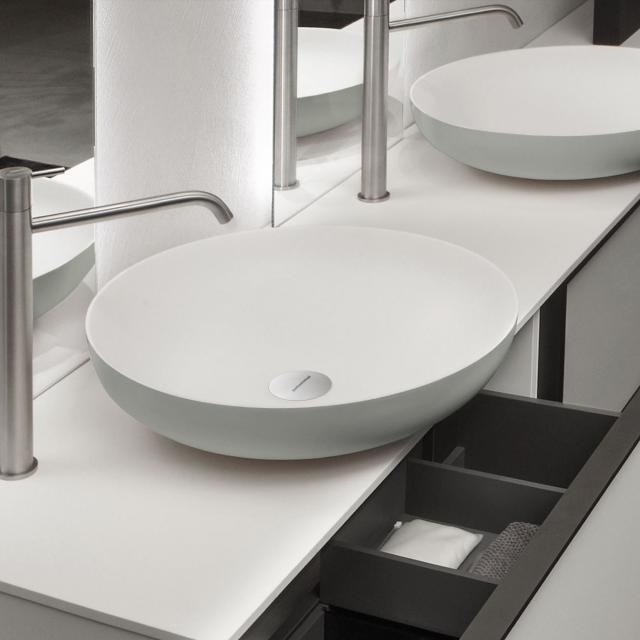 antoniolupi VERSO  Aufsatzwaschtisch cemento matt/weiß matt, Ablaufventil chrom