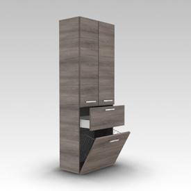 Artiqua 400 Hochschrank mit 2 Türen ,1 Auszug und 1 Wäscheklappe Front graphit struktur / Korpus graphit struktur