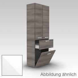 Artiqua 400 Hochschrank mit 2 Türen ,1 Auszug und 1 Wäscheklappe Front weiß glanz / Korpus weiß glanz