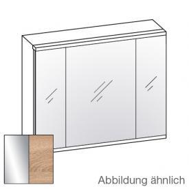 Artiqua 400 LED Spiegelschrank B: 84 H: 73 T: 16 cm, 3 Türen Front verspiegelt / Korpus castello eiche
