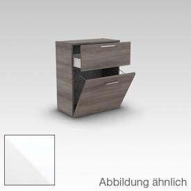 Artiqua 400 Midischrank mit 1 Auszug und 1 Wäschekippe Front weiß hochglanz / Korpus weiß glanz