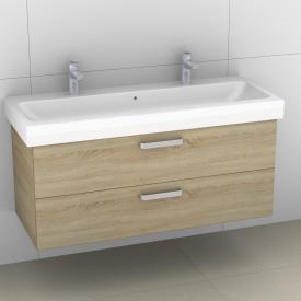 Artiqua 413 Waschtischunterschrank für Doppelwaschtisch mit 2 Auszügen Front castello eiche / Korpus castello eiche