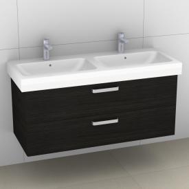 Artiqua 413 Waschtischunterschrank für Doppelwaschtisch mit 2 Auszügen Front hacienda schwarz / Korpus hacienda schwarz